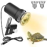 Zacro Lámpara para Tortuga, 360° Rotación Lámpara de Calor Reptil Anfibioss Lámpara de Cristal de Tortuga...