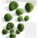 12 Piezas de Rocas de Musgo Artificiales Decorativas, Piedras de Musgo de imitación Verde para la decoración...