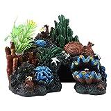Pssopp Colorido Resina Artificial Arrecife de Coral Cueva Decoración para Peces de Agua Salada Peces Marinos...