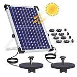 AISITIN Fuente Solar Bomba 12W Fuente de Jardín Solar, Batería Incorporada, Caudal 500 L/H, Cada bomba tiene...