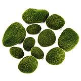Musgo Artificial Rocas,12 Piezas Varios Tamaño Decorativas Piedras Artificiales para Arreglos...
