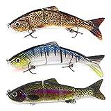 AYADA Señuelos Articulados para Pesca, Wobblers Cebo Pesca Artificial Swimbait Cebo con Anzuelos Mustad Agua...