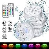 4pcs luces sumergibles LED, Jooheli Piscina Luz LED Impermeables Bajo El Agua Luz con mando a distancia luces...