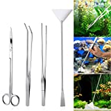 UEETEK 4PCS acuario de acero inoxidable tanque de plantas acuáticas pinzas y tijera spatula conjunto de...