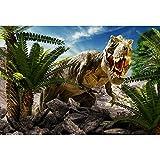 Cassisy 3x2m Vinilo Telon de Fondo Feroz Escena de Dinosaurio Montaña Cielo Azul Plantas Verdes Fondos para...