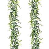 YQing 2 Piezas Eucalipto Artificial Guirnalda, Hojas de eucalipto Eucalyptus Guirnaldas Seda Hojas Vines...