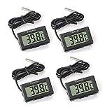 Thlevel 4X Monitor LCD de Temperatura con termómetro Digital y sonda Externa para refrigerador, congelador,...