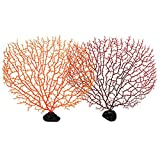 Jinlaili Coral Artificial Acuario, 2 Pz Ornamento Artificial Coral Plástico, Decoración Artificial Mar...