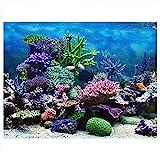 Cartel de Fondo del Acuario Cartel de Tanque de Peces Adhesivo de PVC Arrecife de Coral Bajo Agua Papel de...