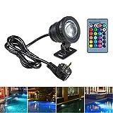 BLOOMWIN Lámpara Subacuática 10W LED Luz con Control Remoto 4 Modos RGBW Cambio de Color IP68 85-265V Foco...