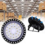 UFO LED Iluminación, WZTO 10000LM 100W Techo de Cristal 6000K-6500K Impermeable IP65, Brillante Iluminación...