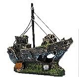 Kfnire Decoraciones del Tanque de Pescados, Ornamento del Acuario del Barco de Pesca de la Resina