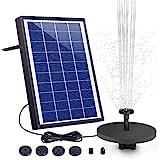 AISITIN Solar Fuente Bomba 6.5W Fuente de Jardín Solar Batería Incorporada con 6 Boquillas y Tabla Flotante...
