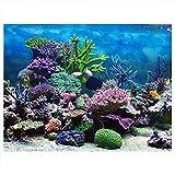 Fdit Póster de Fondo de Acuario con Fondo de PVC Adhesivo para decoración de arrecifes de Coral bajo el...