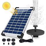 AISITIN Fuente Solar Bomba, 5.5W Fuente de Jardín Solar, Batería Incorporada, Caudal 500 L/H, con 6...