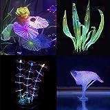 Podazz Decoración de acuario brillante con forma de planta de coral y efecto brillante, decoración...