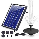 AISITIN Solar Fuente Bomba, 6.5W Fuente de Jardín Solar, Batería Incorporada, Caudal 500 L/H, con 6...