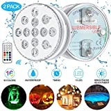 Luces Sumergibles GolWof Led Sumergible 2 Pack 13 LEDs 16 Colores Luz LED Impermeable IP68 Luz Sumergible con...