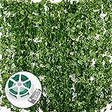 Plantas Hiedra Artificial (24pcsx2m) Hiedra Hojas de Vid Artificial Enredadera Guirnalda Decorativa...