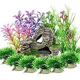 Vibury Plantas Artificiales Acuario, 13 Piezas Plantas Verdes de Acuario de plástico y Acuario, Arrecife de...