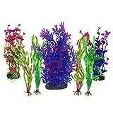 Plantas acuáticas artificiales, PietyPet 7 piezas Plantas grandes de acuario Decoraciones plásticas del...