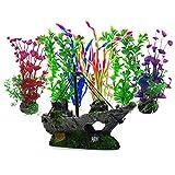 Aisamco Plantas acuáticas Artificiales, 6 Piezas de Plantas de Acuario, 1 Piezas de Acuario Artificial...